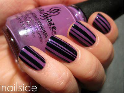 purp & black: Nails Art, Nails Design, China Glaze, Gothic Lolita, Black Nails, Purple Nails, Nails Polish, Stripes Nails, Black Stripes