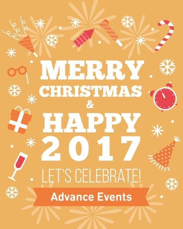 Namens het team van Advance Events wens ik iedereen hele fijne feestdagen en een feestelijk 2017! Let's celebrate!! https://www.advance-events.nl/home