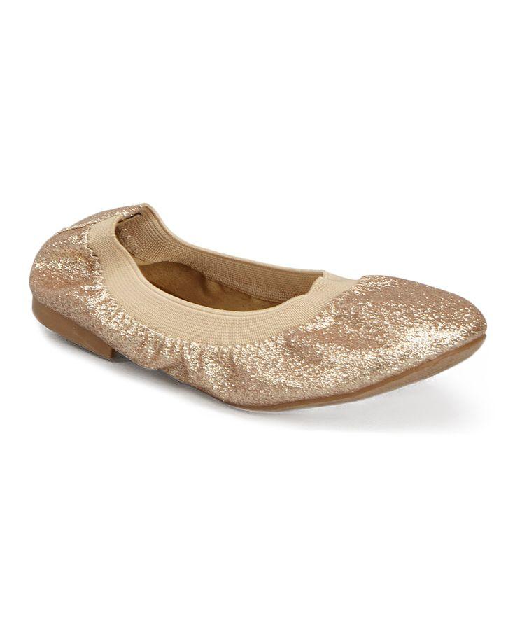 Gold Glitter Twisty Ballet Flat