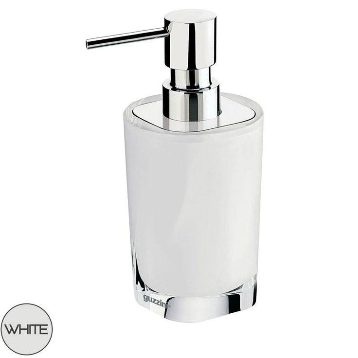 Dosasapone OutLine Guzzini 8xh17.2cm realizzato in resina poliestere e Acciaio Bianco | Guzzini | Stilcasa.Net: Accessori per il bagno