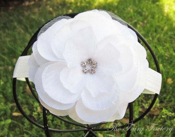 Diadema de flor blanca blanca flor con diadema de diamantes
