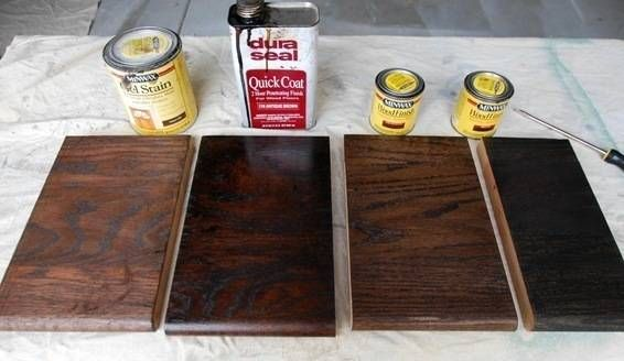 two coats. my carpenter recommended Duraseal in 'Antique Brown', which is also made by Minwax and sold to the trade to contractors.  The Minwax Walnut stains were just not dark enough, and the 'Ebony' (far right) was too black.