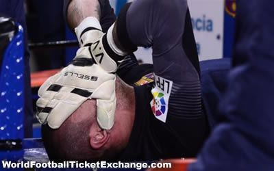 Victor Valdes, the goalkeeper of Barcelona and Spain national team have suffered in a serious knee injury that causes to push him out from the FIFA World Cup 2014. He was taken off on a stretcher in the first half of Barcelona's match against Celta de Vigo yesterday, which they won by 3-0. WorldFootballTicketExchange.com is the fans favourite site to buy or sell football tickets for all the popular events around the world especially World Cup 2014 Tickets.