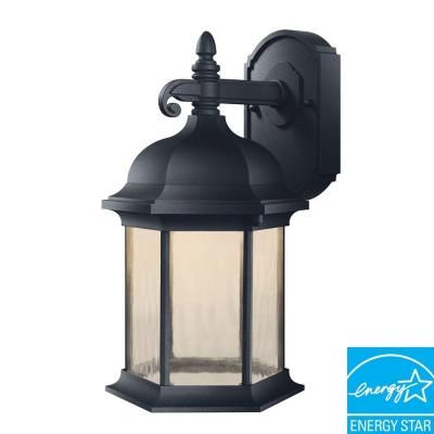 Hampton Bay Oxford Collection Wall Mount Outdoor Black 8 In LED Lantern HB7041LEDP