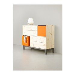 """NORNÄS 4 drawer chest with 2 compartments, pine, gray - 42 1/2x34 5/8 """" - IKEA"""