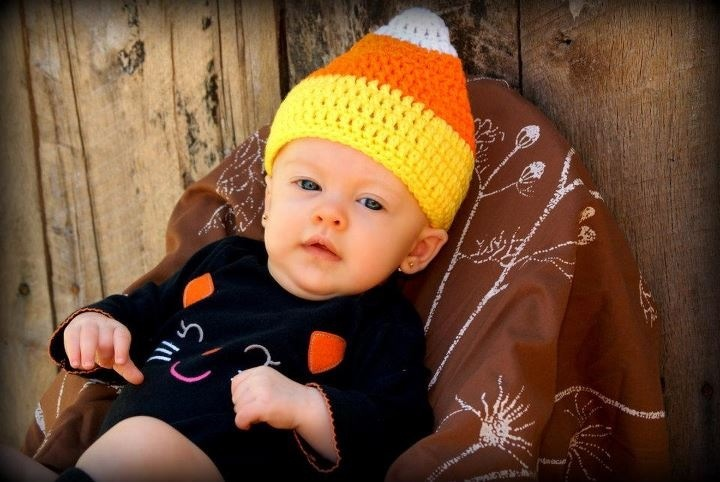 Candycorn hat, great for photo-props. This photo was taken by Amanda Marcum.