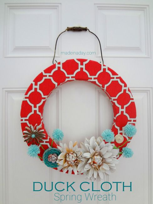"Looking for a quick and easy way to spruce up your front door? How about this gorgeous bright ""Duck Cloth Spring Wreath?"" {Tutorial} @madeinaday"