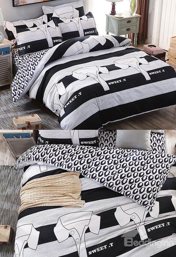 Black And White Stripe T Shirts Prints Polyester 4 Piece Boys