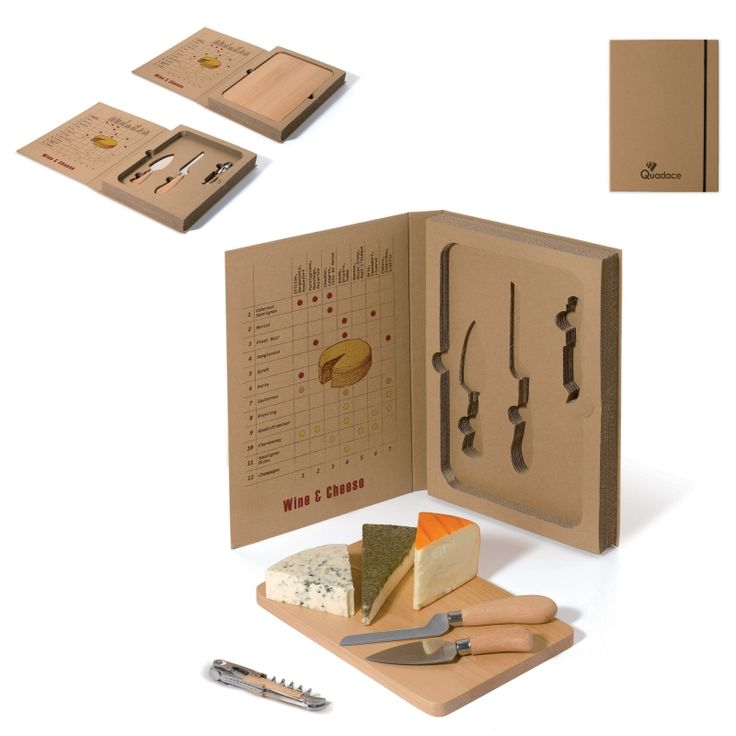 Set de queso y vino presentado en un estuche original de cartón en forma de libro. Sorprenda ahora a sus clientes con las mejores propuestas.
