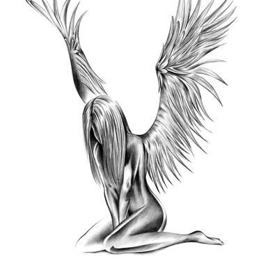 Attractive Angel Tattoo Design.... >> Take a look at even more by visiting the picture  Learn more at  http://findtattoodesign.net/designs/religious-and-mistical#.WGAcryk9RWY.pinterest