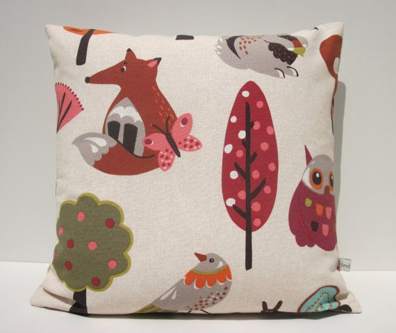 Just reduced by 20% Woodland Animals children's cushion cover in 100 by SewSueHome, £10.00