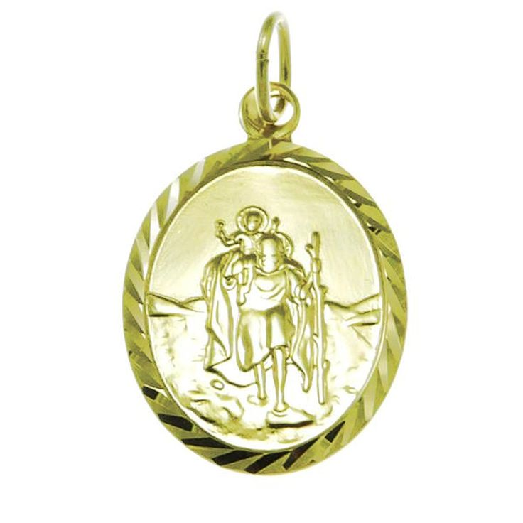 9ct Gold Oval St Christopher Pendant Medal and Jewellery Gift Box