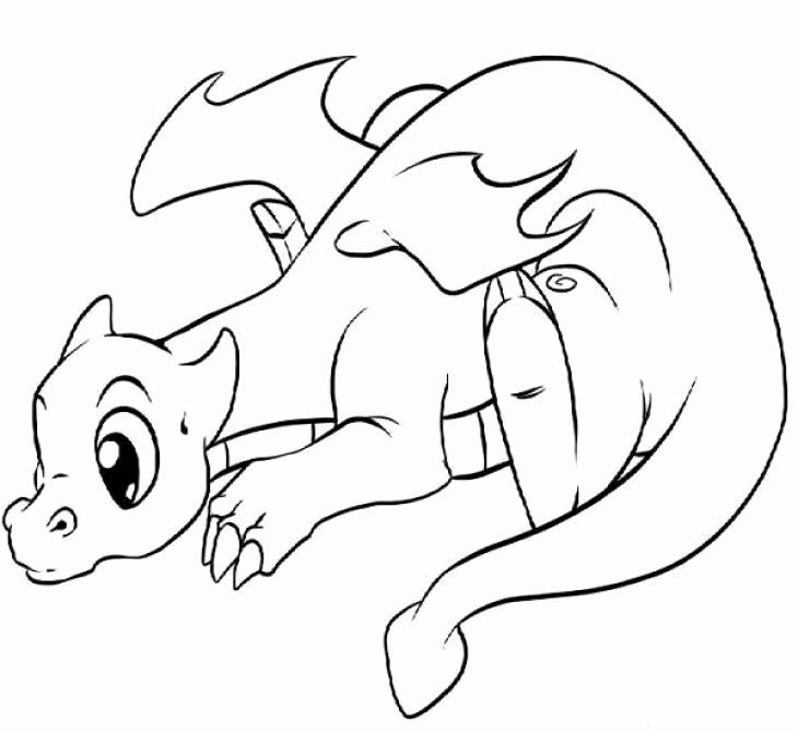 Cute Kawaii Animal Coloring Pages Fresh Lonely Little Dragon Kids Printable Coloring Page Free Drachenzeichnungen Malvorlagen Tiere Dragons Ausmalbilder