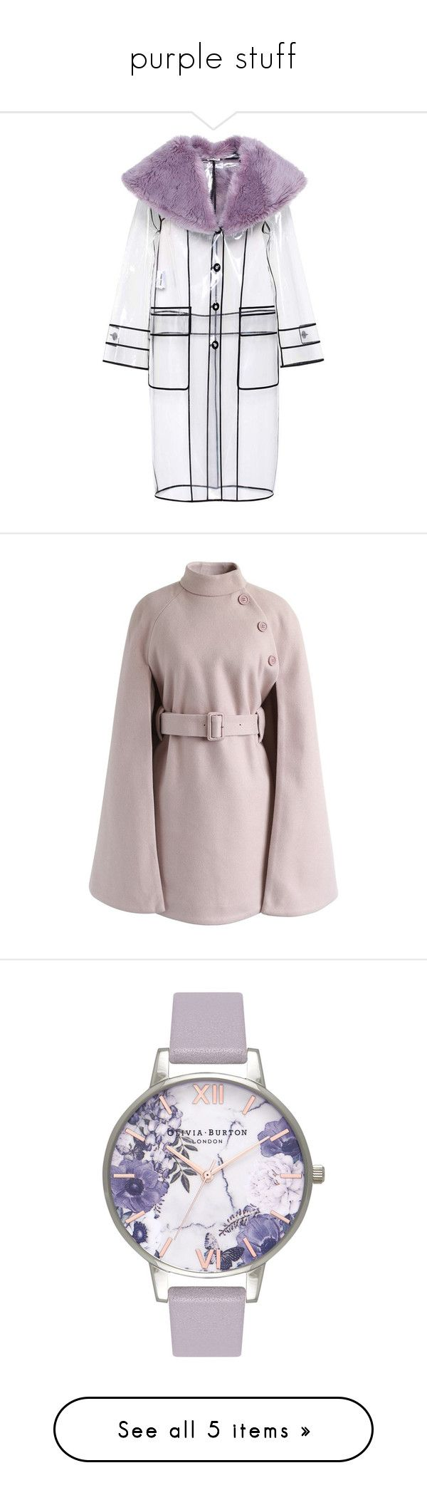 """""""purple stuff"""" by ailatanami ❤ liked on Polyvore featuring outerwear, coats, jackets, miu miu, purple, purple coat, mac coat, purple rain coat, clear rain coats and pink"""