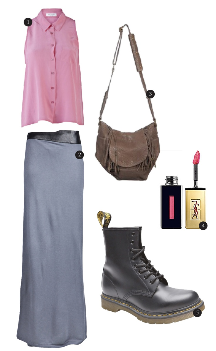 1.Equipment- Pink Mina Vintage Wash      2. Iro – Alek Gold Ring Fringe Leather Bag     3. Improvd – Gray Viscs Leather Waist Wrap Maxi Skirt     4. Yves Saint Laurent – Vernis À Lèvres Glossy Stain  (Sephora)    5. Dr. Martens – 1460 Smooth Boot