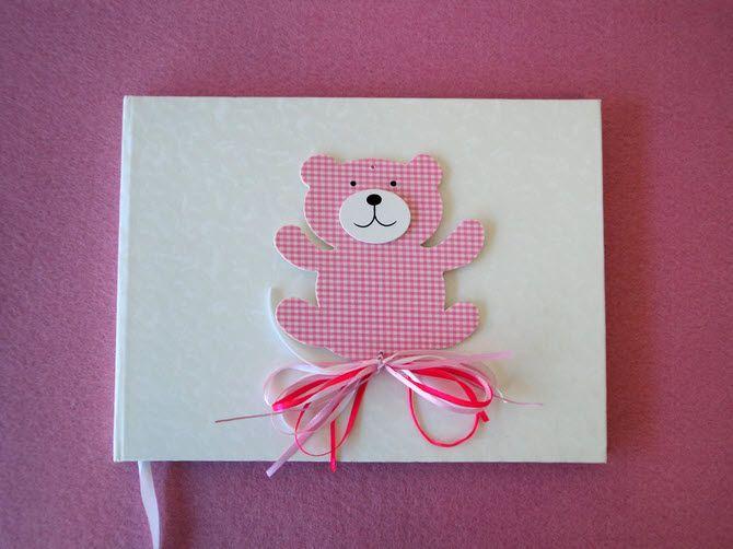 Βιβλίο ευχών βάπτισης - ευχολόγιο λευκό διακοσμημένο με καρώ ροζ αρκουδάκι