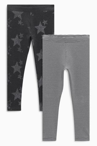 Buy Charcoal Star/Stripe Leggings Two Pack (3-16yrs) from the Next UK online shop
