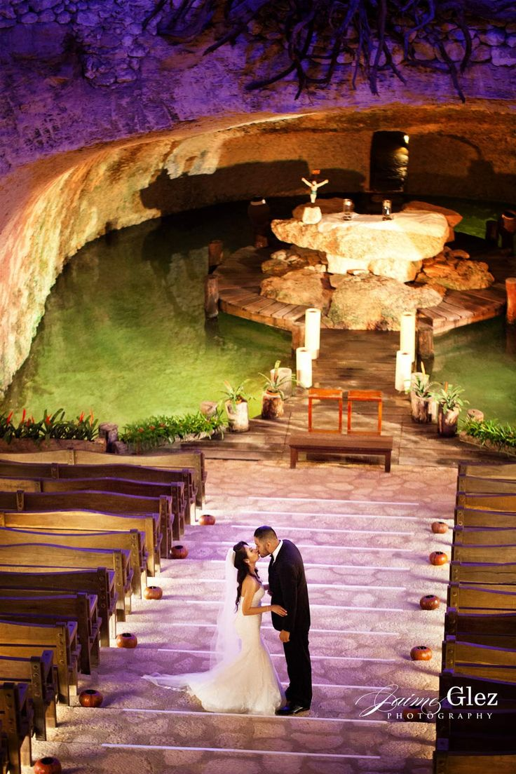 Romantic And Emotive Kiss Of Bride Groom At The Chapel Guadalupe In Xcaret Mexico