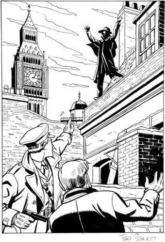 Ted Benoit Dessinateur -  BLAKE ET MORTIMER Encre de Chine pour une illustration en hommage à Jacobs et à la Marque Jaune.