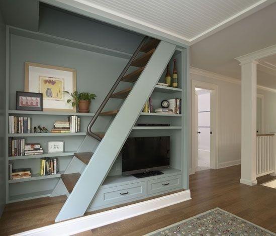 Built-ins around loft stairs