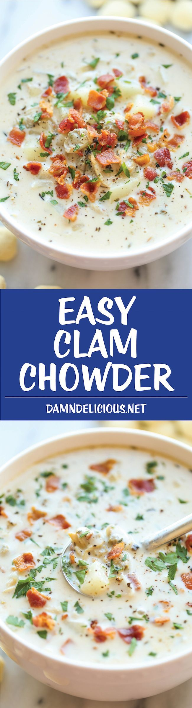Easy Clam Chowder - Clam Chowder is easier to make than you think! The homemade version is unbelievably creamy, flavorful and chockfull of clams! Yum!
