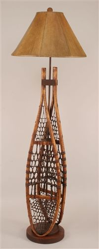 Snowshoes rustic decor floor lamp - would love to find some old skis or snow shoes to hand on the walls.