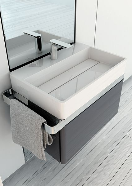The basin of the Structure collection has a generous measuring, with practicable cover to hide the drain, and it is made entirely in Mineralmarmo®. #bathroom #furniture #washbasin
