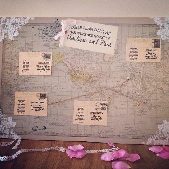 Vintage World Map Wedding Table Plan