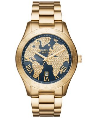 Michael Kors Women's Layton Gold-Tone Stainless Steel Bracelet Watch 44mm MK6243