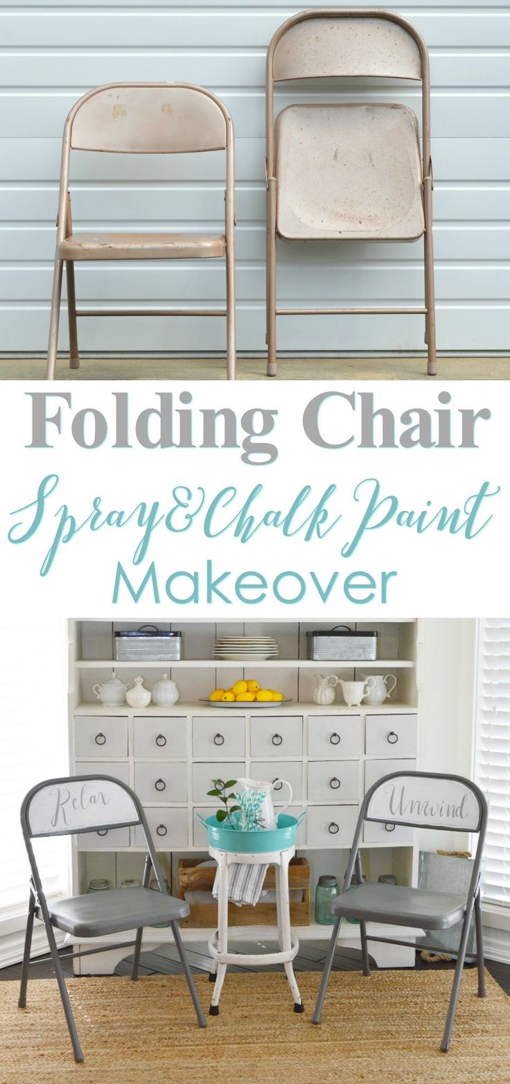 Thrift Store, Metal Folding Chair Before & After at Spray & Chalk Paint Project. foxhollowcottage.com - Grey White Relax Unwind Vintage Cottage Style Seating Solution.