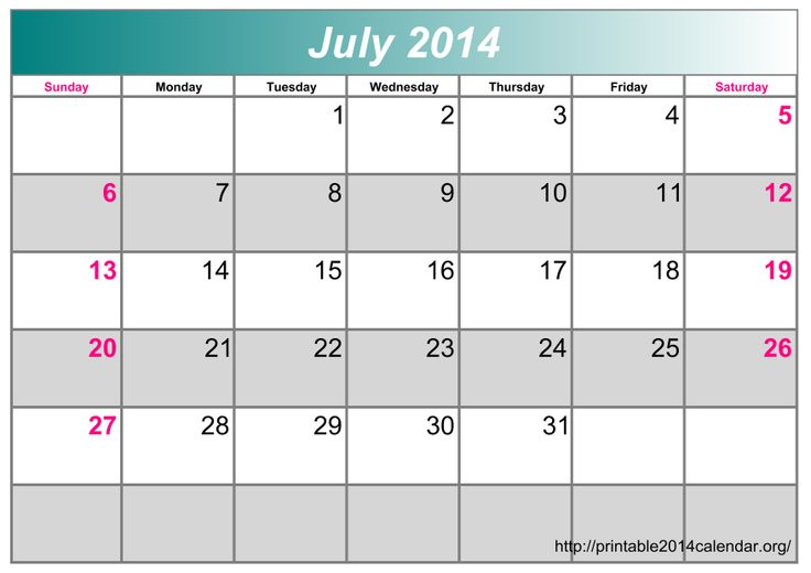 July 2014 Calendar Printable & Template http://www.calendarvip.com/july-calendar.html