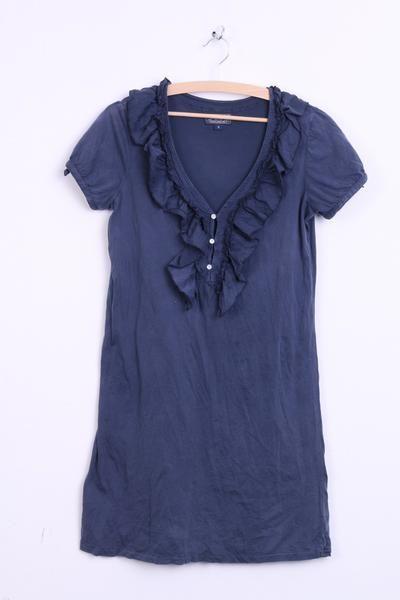 Ralph Lauren Womens S Dress Tunic Blouse Shirt Flounce Navy Long Cotton - RetrospectClothes