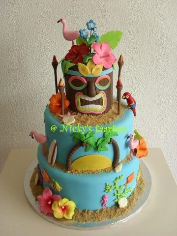 http://www.mijnalbum.nl/Foto-PHDDGFDQ.jpgTiki Cake, Believe Parties, Aloha Hawaiian Tiki, Cake Design, Tiki Beach, Eating Cake, Cake 30, Birthday Cake, Latest Cake