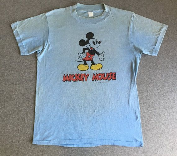 d1c1fc0be MICKEY MOUSE Shirt 70s Vintage/ Walt Disney Double Side Front & Back Tshirt/  Soft Distressed Blue Medium | Mickey mouse | Mickey mouse shirts, Shirts,  ...