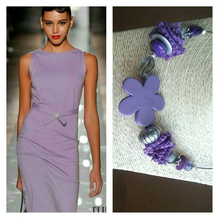 Handmade necklace - extravagant purple and silver - unique and original