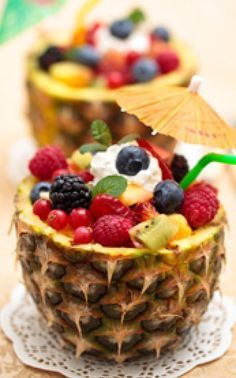 Recipe: Luau Hawaiian Fruit Salad Summary: For your luau theme party use real fruit as centerpieces using the whole pineapple as your focal point! Ingredients 1 pineapple cut in half, across juice from 1 lemon 1/2 cup of seedless grapes 1 can of mandarin, drained 1 sliced banana 6 sliced strawberries 2 sliced kiwi 1/2 …