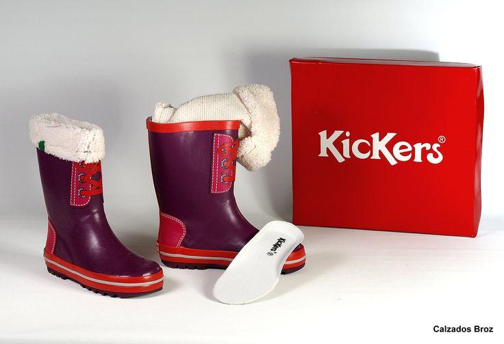 Colección Kickers. Bota de goma para a auga con forro de borrego extraible - Morado. (nena). REF: 102-001
