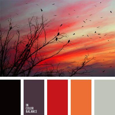 anaranjado, color puesta del sol, colores contrastantes, colores ígneos, colores para la decoración, de color azul ciruela, gris y negro, gris y rojo, negro y rojo, paletas de colores para decoración, paletas para un diseñador, rojo.