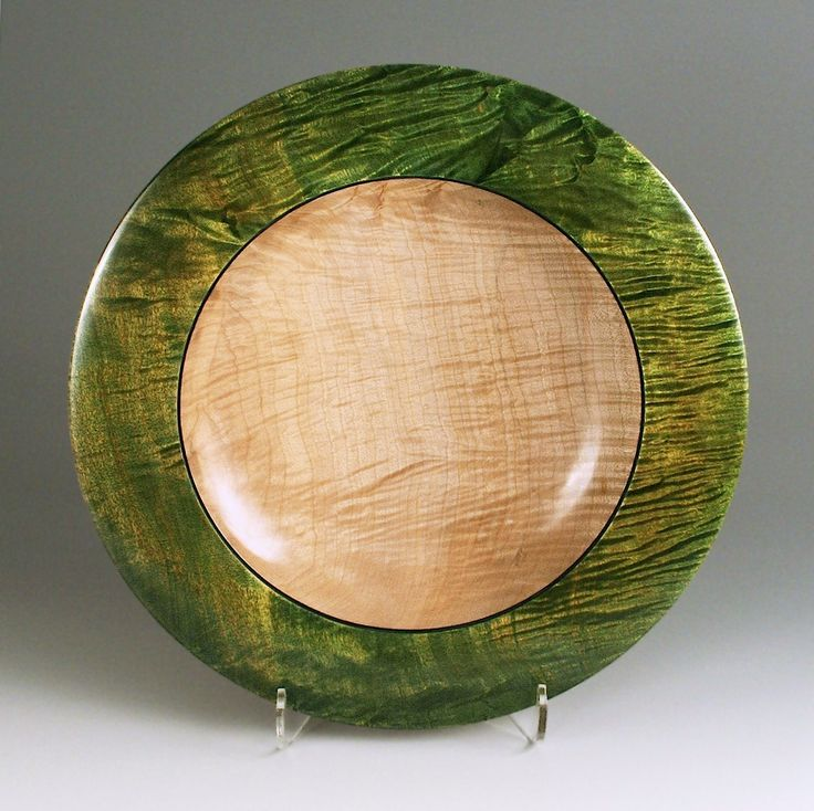"""Ripple maple platter dyed green and blue, 15-1/2""""D x 2""""H"""