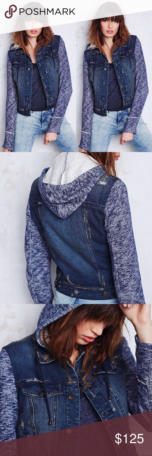 | Free People | Indigo Wash Hooded Jean Jacket Brand new with tags. Never been worn. Distressed look. Made from 100% cotton. Super comfortable. Retails for $168. No trades! Free People Jackets & Coats Jean Jackets