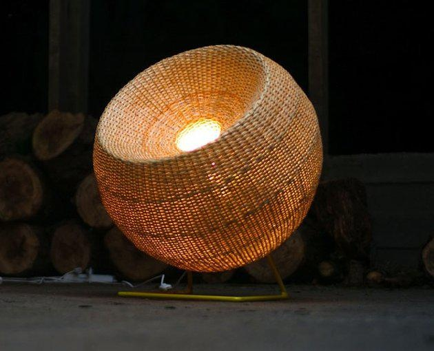 "Santiago-based Made in Mimbre is a team of designers and artisans who create modern wicker lighting and furniture using traditional crafts techniques. In this picture is ""Lampara B."""