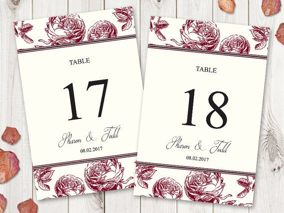 Burgundy Red Roses Table Numbers Printable Template by ShishkoTemplates, DIY Table numbers flat cards, Vintage style