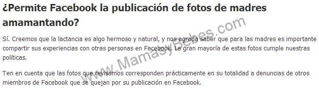 Facebook ya permite la publicación de fotos de madres amamantando