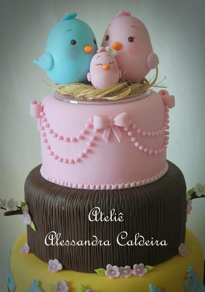 Birds baby shower cake