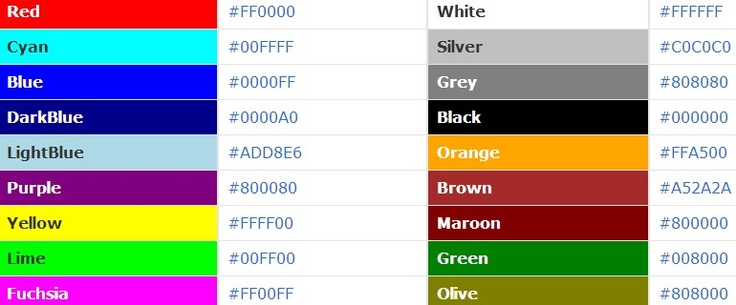 COLOR CODES for HTML / CSS  #webdesign #colorcodes #color #hex