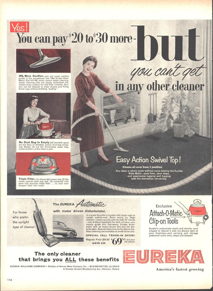 Eureka Roto Matic Vacuum Cleaner (Double Page) LIFE September 13 1954