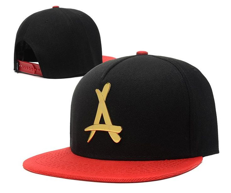 "Mens THA Alumni The Classic ""A"" Iron Gold Metal Logo A-Frame USA 2016 Best Quality Fashion Leisure Snapback Cap - Black / Red"