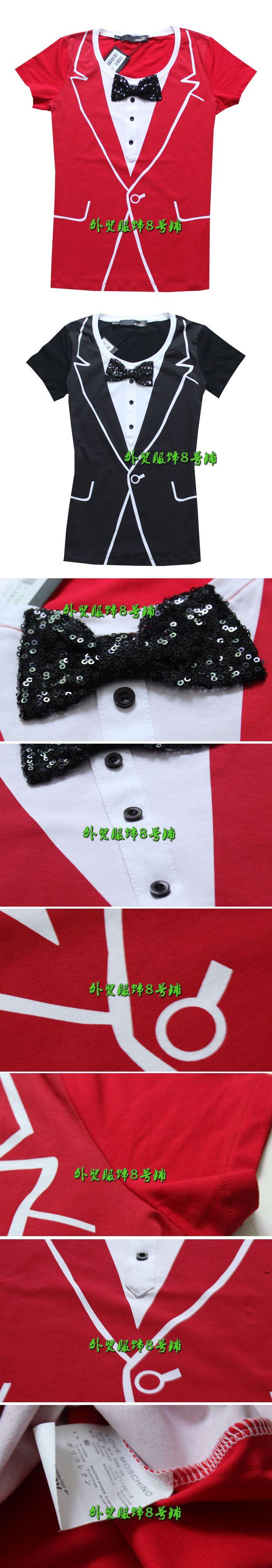 Роскошные большие модели европейских и американских женщин 2014 весной и летом костюм печати поддельные Тонкий нагрудные с коротким рукавом футболки - Taobao