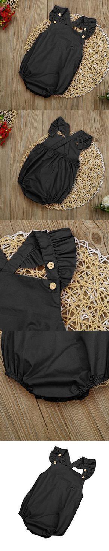 GONKOMA Baby Girls Solid Color Sleeveless Bodysuit Jumpsuit Romper Clothes (6-Months, Black)