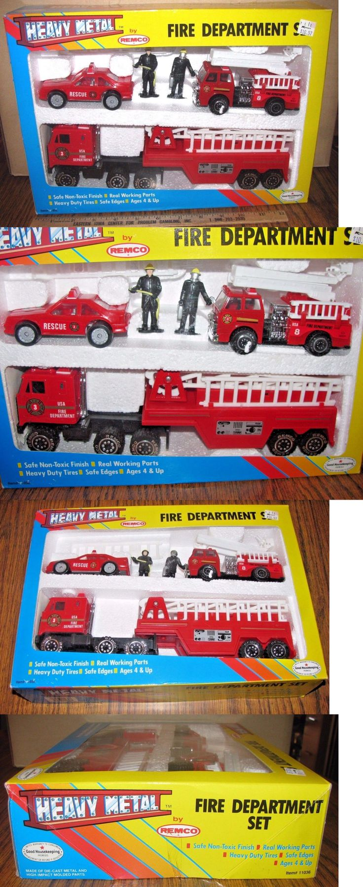 Play Sets 177918: Remco Fire Department Truck Car Firemen Toy Set Die Cast Metal 1990 New And Sealed -> BUY IT NOW ONLY: $47.49 on eBay!
